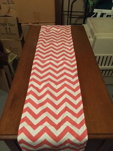 Coral and White Chevron Table Runners Tablecloth