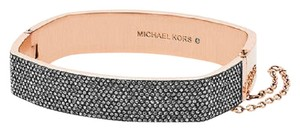 Michael Kors Nwt Michael Kors Rose Gold Tone Black Pave Hinged Bangle Bracelet