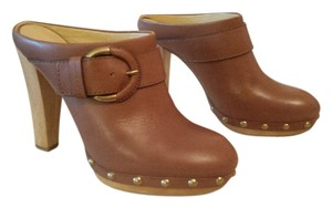 Coach Studded Leather Caramel/Tan Mules