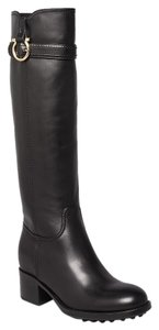 Salvatore Ferragamo Leather Knee High Partial Inside Zip Pull Tabs Black Boots