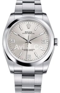 Rolex Rolex Oyster Perpetual 34 Silver Dial Stainless Steel Watch 114200