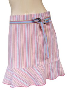 W by Worth Striped Ruffle Hem Blend Skirt Multi-colored