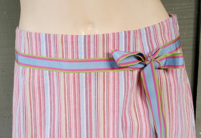W by Worth Striped Ruffle Hem Cotton Blend Skirt Multi-colored