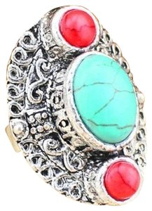 Boutique 3 Stone Coral and Turquoise Ring