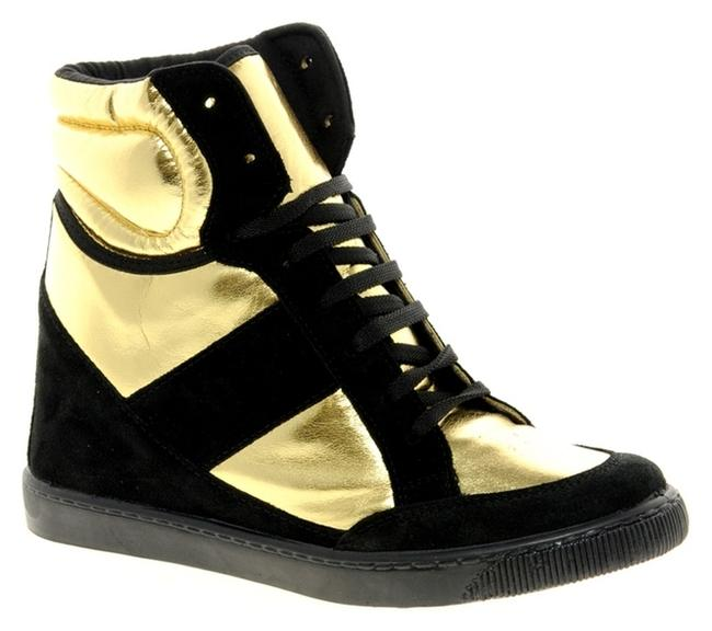 Item - Black and Gold Deny Wedge High with Suede Detail Sneakers Size US 7.5 Regular (M, B)