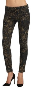 Genetic Denim Print Floral Gold Skinny Jeans