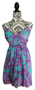 She's Cool short dress Teal/purple floral Midi Strappy on Tradesy