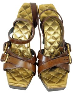 Yves Saint Laurent Brown and Gold Sandals