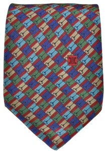 Céline Celine Paris Equestrian Horse Bit Colorful All Silk Skinny Necktie Tie Made in Spain Authentic