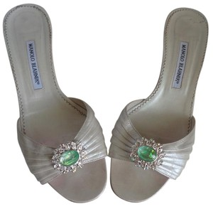 Manolo Blahnik M.b. Dust Bag Irridescent Crystals Custom 1-of-a-kind Unique Hardware Bejeweled Vamps Beige, green Sandals