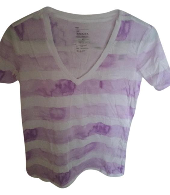 Gap Striped V-neck Tie Dye Lavender T Shirt Purple