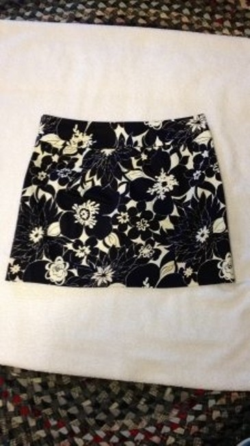 J.Crew Above The Knee Springy Floral Skirt navy and white