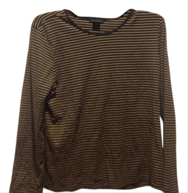 Item - Black W/ Beige Stripes Long Sleeve W/ Tee Shirt Size 16 (XL, Plus 0x)