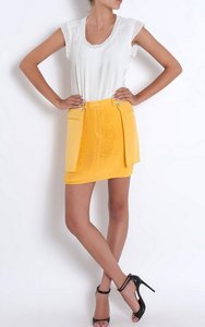 3.1 Phillip Lim Pleated Silk Mini Mini Skirt yellow