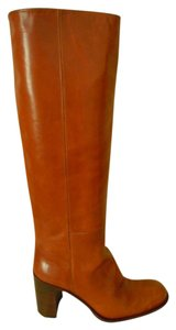 Joan Helpern Signature Leather Lined Stacked Heel Leather Sole Brown Boots