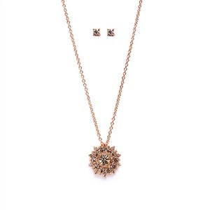Gorgeous Crystal Starburst Rose Gold Necklace & Earrings Jewelry Set