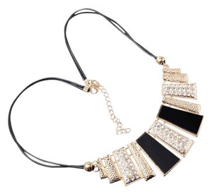 Other Geometric Modern Gold and Black Bib Necklace