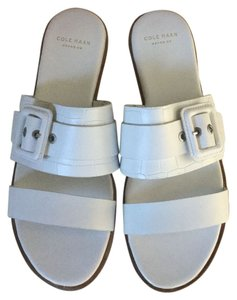 Cole Haan Amavia Leather Slip-on White Sandals