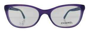 Chanel Gently Used Chanel Eyeglasses 3288-Q c. 1463 Purple Acetate Blue Leather Temples Full-Frame Made in Italy 51mm