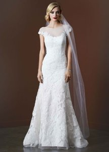 David's Bridal Trumpet Wedding Gown With Illusion Neckline Wedding Dress