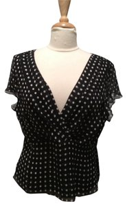 AK Anne Klein Polka Dot Silk Top Black and White