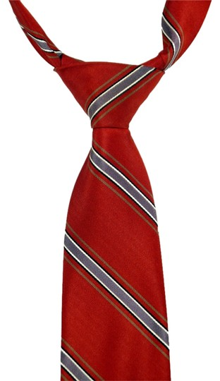 Christian Dior Christian Dior 100% Silk Red Tie with Light Blue Stripes: MSRP $275