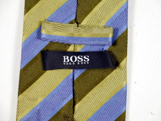 Hugo Boss Hugo Boss 100% Silk Necktie Blue and Green Stripe: MSRP $120