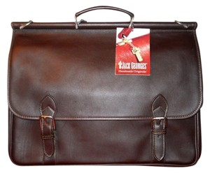 Jack Georges 8498 Brn Platinum Collection Dowel Flap Jack Flap Cover Briefcase Laptop Bag
