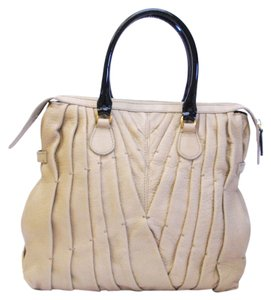 Valentino Garavani Tan Leather Maison Pintucked Handbag Tote in Beige
