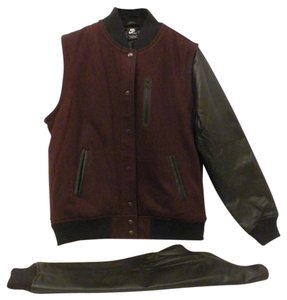 Nike Wool Varsity Destroyer 426818 Vest Burgundy & Black Leather Jacket