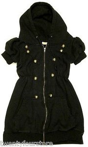 Urban Outfitters Lucca Couture Short Sleeve Military Sweatshirt Jacket Tunic Coat