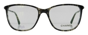 Chanel Gently Used Chanel Eyeglasses 3294-B c. 1488 Black Acetate Rhinestone Temples Full-Frame Made in Italy 52mm