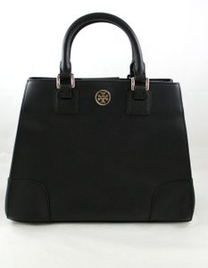 Tory Burch Robinson Saffiano Leather Tote in Black