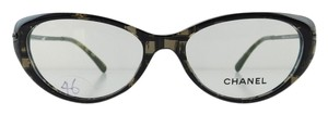 Chanel Gently Used Chanel Eyeglasses 3296-B c. 1488 Black Acetate Rhinestone Temples Full-Frame Made in Italy 54mm
