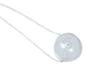 20mm Glass Hallow Globe Bead Necklace on Silver Alloy Chain