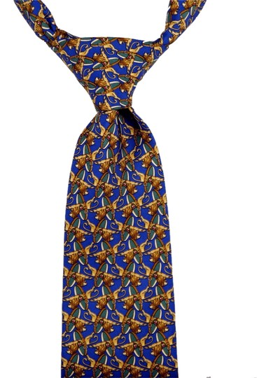 Brooks Brothers Brooks Brothers Makers 100% Silk Tie Cobalt Blue with Lions Pattern