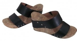 Lucky Brand Black and Tan Wedges
