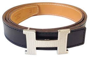 Hermès Hermes Collector's piece 24 Mm silver guilloche Constance H Belt