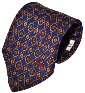 Longchamp Longchamp Paris Geometric Paisley Navy Blue Silk Necktie Tie Made in Italy Authentic
