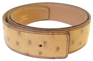 Hermès Hermes #5943 32 Mm Ostrich leather Belt Size 70 Reversible Belt for Gold silver H belt buckle