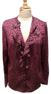 AK Anne Klein Ruffle Flowy Top Fuschia, Gray and Black