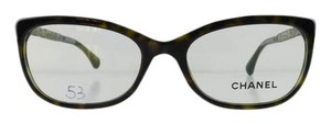 Chanel Gently Used Chanel Eyeglasses 3305-B c. 714 Havana Acetate Rhinestone Temples Full-Frame Made in Italy 52mm