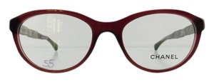 Chanel Gently Used Chanel Eyeglasses 3306-B c. 539 Burgundy Acetate Rhinestone Temples Full-Frame Made in Italy 52mm