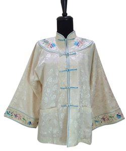 Chinese Silk Embroidered Top cream, white, blue, green, purple, pink