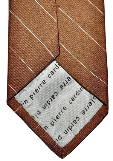 Pierre Cardin Pierre Cardin Beige & Brown Striped Skinny Necktie Tie Wrinkle Free Poly Blend Made in Italy Authentic
