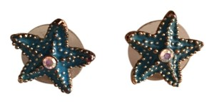 Betsey Johnson Blue and Gold Starfish Stud Earrings