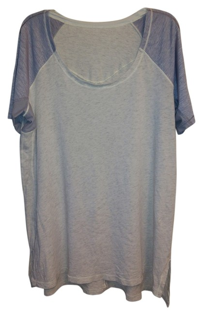 Item - White and Grey Run Swiftly Under Arms Slits Tee Shirt Size 8 (M)