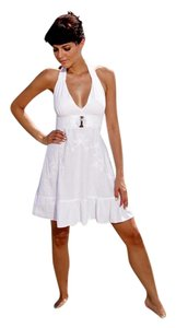 Lirome short dress White Embroidered Crochet Unique Bohemian on Tradesy
