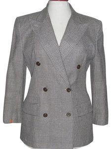 Ralph Lauren Tweed Plaid Silk Navy Blue & White Blazer