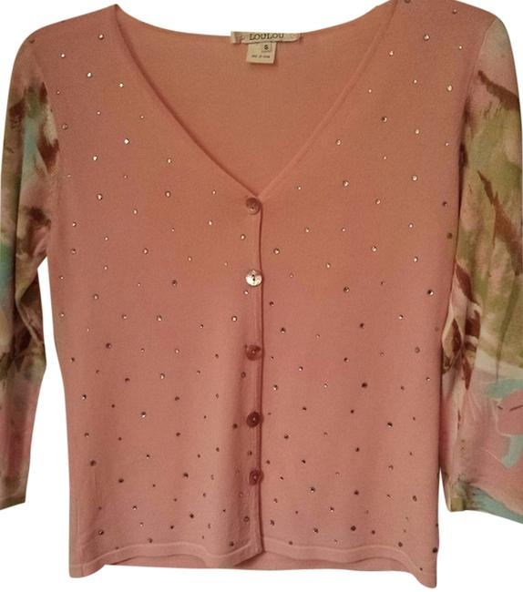 Item - Pink Phinestones and Mulit Colored Sleeves Sweater Front Only Cardigan Size 4 (S)